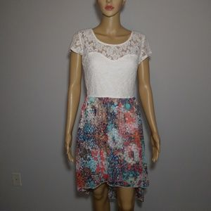 Accidentally in Love Hi/Lo Floral & Lace Dress